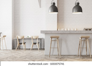White wall bar interior with a wooden floor, a stone bar and wooden stools near it. Tables with chairs in the background. 3d rendering mock up