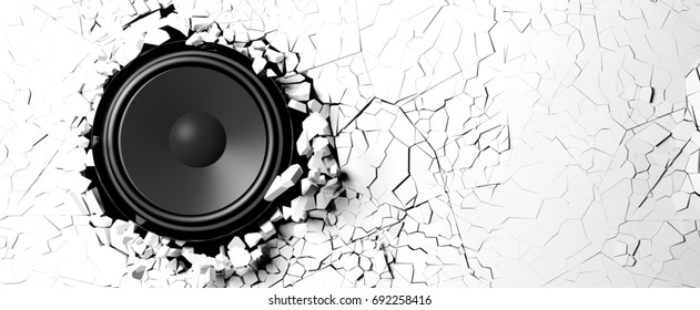 White wall breaks from the sound of a loudspeaker. 3d illustration