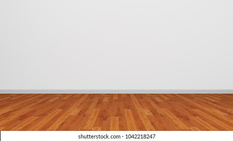 White Wall Brown Wooden Floor 3D Illustration Background Texture