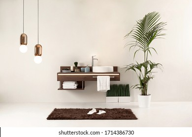 white wall clean bathroom style and interior decorative design for home, hotel and office