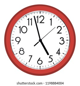 White wall clock. Isolated on white background. High quality photo.