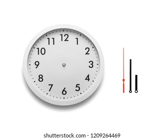 White wall clock isolated on white background. Arrows of hours separated for independent use and indicate any convenient time.