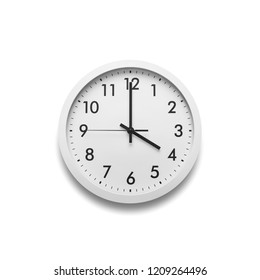 White wall clock isolated on white background. On the clock, four o'clock.