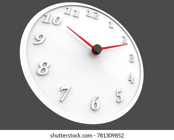 White wall clock with red dials - 3D Illustration