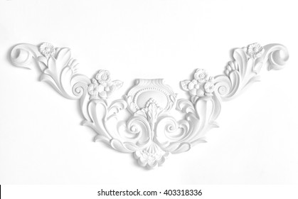 White wall decorated with stucco decorative elements of the Renaissance, Baroque.