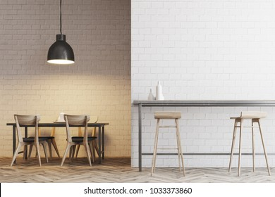 White wall dinner interior with tables and chairs near the walls. Tall tables with stools. 3d rendering mock up