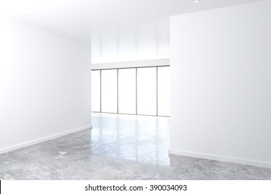 White wall in empty loft room with big windows and concrete floor, mock up, 3D Render