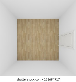 white wall empty room on top view,3d interior
