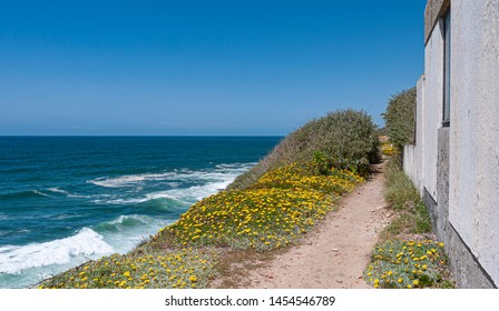 white wall of a house along a cliff walking track on the Portuguese coast with view of the ocean on a sunny summer day