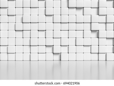 White wall made of white cubes and smooth glossy floor with reflection, abstract  simple 3d illustration.