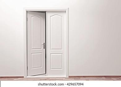 White wall and open door indoors