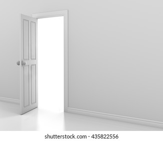 white wall with opened white door 3d rendering