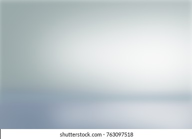 White wall in white room background with dark and light on showcase wall and floor texture abstract illustration in blue, cold gray, snowy  winter interior  blurred background, empty space