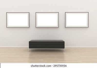 White wall room interior. Nobody empty frame gallery.