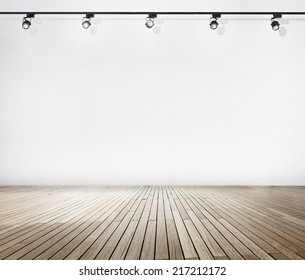 White Wall and Wooden Floor with Spotlights