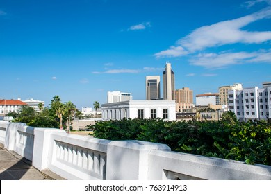 White walls on uptown overlooking the Corpus Christi Texas skyline cityscape above downtown sunny day along the coastal bend