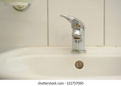 White washbasin in the bathroom.