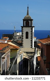 White washed clock tower in Funchal, Madeira Islands
