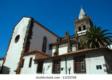 White washed and red tiled church in Funchal, Madeira Islands