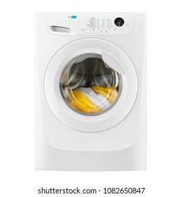 White Washer Machine Isolated on White Background. Front View of Modern Front Load Washing Machine with Electronic Control Panel. Household and Domestic Appliance