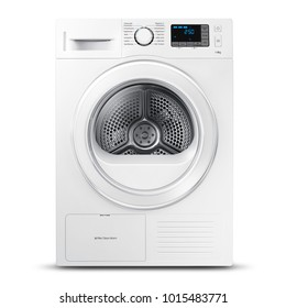 White Washing Machine Isolated on a White Background. Front View of Front Load Modern Washer with Electronic Control Panel. Domestic and Home Appliances