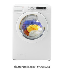 White Washing Machine Isolated on White. Front View of White Washer Machine. Front Load Washer Machine with Electronic Control Panel. Electric Appliances. Household Appliances. Home Appliances