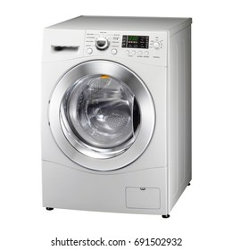 White Washing Machine Isolated on White. Side View of Front Load Washer with Electronic Control Panel. Domestic and Household Appliance