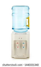 White water cooler with big blue plastic bottle full of purified water isolated on white background. Potable pure water. Watercooler for office and home. Bottled watercooler