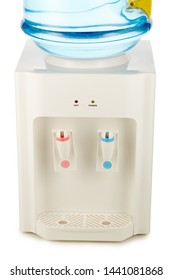 White water cooler with big blue plastic bottle full of purified waterisolated on white background. Potable pure water. Water-cooler for office and home. Bottled watercooler