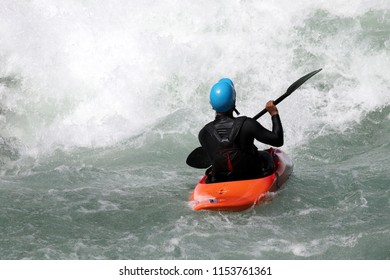 White water kayaking on the rapids of river Yosino in Koboke Canyon, Japan. Yosino River is one of the most popular among rafters in Japan.