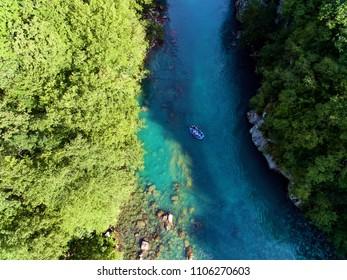 White water rafting on river Tara,aerial view