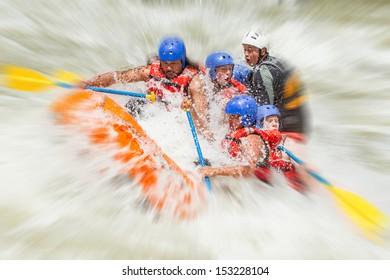 White Water Rafting Team In Bright Sunlight Pastaza River Ecuador Sangay National Park