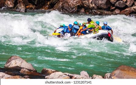 White water river rafting in river Gangas rishikesh uttrakhand, iconic shot