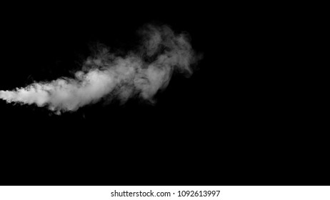 White water vapour on a black background.
