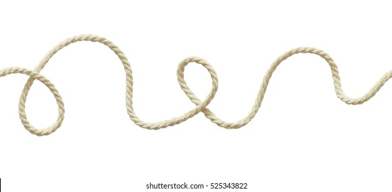 White wavy rope isolated on white, Seamless pattern.