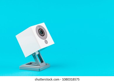 white webcam on blue background, object, Internet, technology concept.