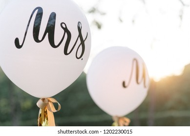 white wedding balloon. word MRS and MR.