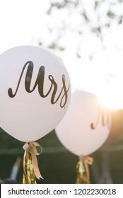 white wedding balloon. word MRS and MR.