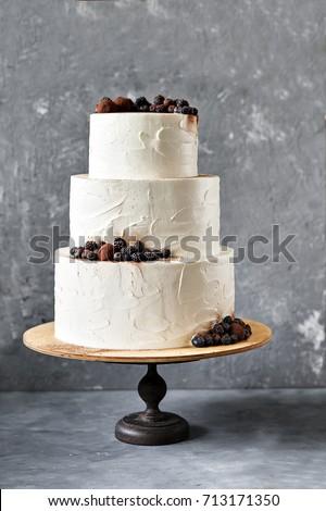 White Wedding Cake Blackberries Blueberries Chocolate Stock Photo