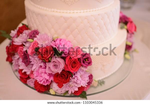 Amazing White Wedding Cake Decorated Pink Flowers Stock Photo Edit Now Funny Birthday Cards Online Hetedamsfinfo