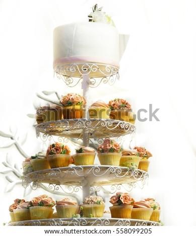 White Wedding Cake On Top Rose Stock Photo Edit Now 558099205