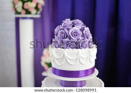 White wedding cake purple flower detail stock photo edit now white wedding cake with purple flower detail mightylinksfo