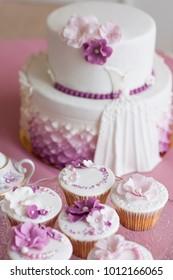 White Wedding Cake Purple Pink Flowers Stock Photo (Edit Now ...