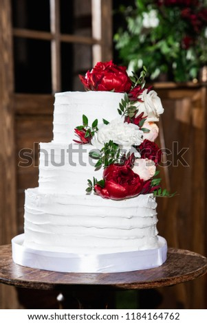 White Wedding Cake Red White Peonies Stock Photo Edit Now