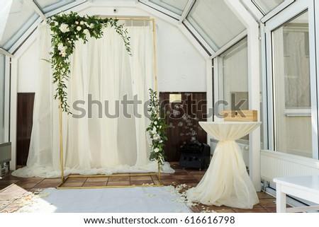 White Wedding Ceremony Decorations Indoor Wedding Stock Photo Edit
