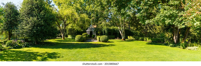 White Wedding Gazebo and Park Lawns and Grounds in Panoramic format.