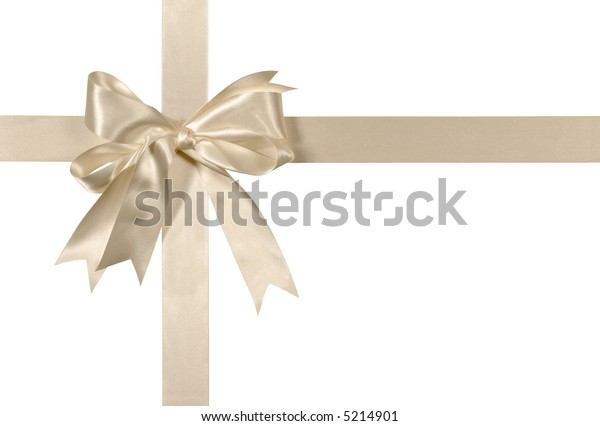White wedding gift ribbon bow in ivory satin vertical