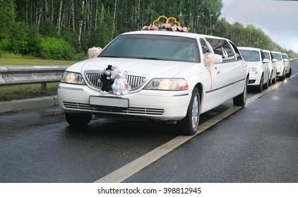 white wedding limousine with ex-court