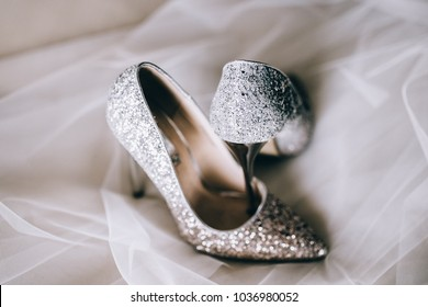 white wedding shoes with accessories