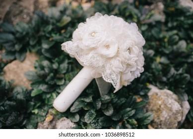 White wedding silk bouquet